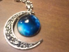 ೋღ❤ღೋ Silver Tone Quarter Moon and Universe Charm Necklace  ೋღ❤ღೋ