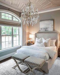 Master Bedroom Chandelier, Vaulted Ceiling Bedroom, Master Bedroom Design, Dream Bedroom, Home Bedroom, Bedroom Chandeliers, Shabby Chic Bedrooms, Guest Bedrooms, Large Bedroom