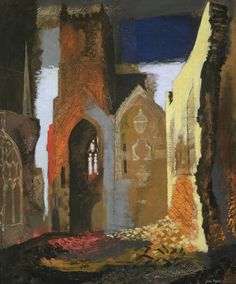 John Piper (1903 – 1992) is considered to be one of the most significant British artists of the 20th Century 1940+St+Mary+le+Port,+Bristol+oil+&+pencil+on+canvas+76.2+x+63.5+cm+©+Tate.jpg (830×1002)