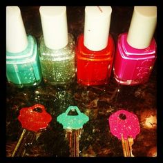 pinterest project!!....nail polish on your keys...