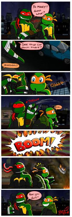 I would be Raph and my friend Amanda would be Mikey
