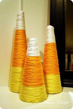 Yarn Candy Corn craft