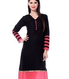 Buy Black stripes print cotton kurti kurtas-and-kurti online