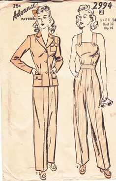 Vintage Advance Sewing Pattern 2994 Overalls or Jumpsuit, Pants and Jacket Bust 32