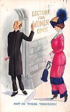 POSTCARD  COMIC    SUFFRAGETTE  Related  Vicar   Lecture for  Women  Only
