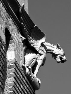 One of Four Winged Gargoyles That Can Be Seen Perched High Atop Clinton Town Hall in Clinton, Massachusetts