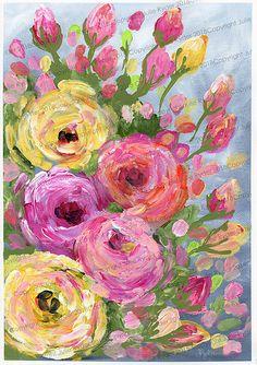 A3 Roses pink orange yellow WM