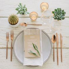Guarantee Your Wedding Won't Succ With These Creative Ways To Use Succulents - Wilkie Blog! - Mini succulent favors and centerpieces and personalized printed menus