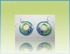 polymer clay Turquiose Floral Hoop Earrings by BeadazzleMe on Etsy, $18.00