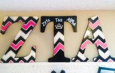 Zeta Tau Alpha | sorority craft | sorority | letters | sorority letters | greek | greek letters | crown | pink | black and white | chevron | ZTA | Zeta | big little