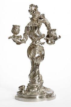Candélabre, silver, 1734-35 by  Juste-Aurèle Meissonnier (1695-1750) and Claude Duvivier (1688-1747) (Les Arts Décoratifs)