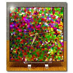 A floral scene made into points in a variety of colors Desk Clock