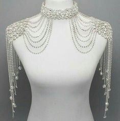 Bridal Couture Steampunk GLAMOUR Crystal Shoulder Neck Choker Body Necklace may be great for any bride with beautiful shoulder- Sienna (Babydoll) Shoulder Jewelry, Shoulder Necklace, Body Jewelry, Wire Jewelry, Choker Jewelry, Punk Jewelry, Jewlery, Bridal Accessories, Fashion Accessories
