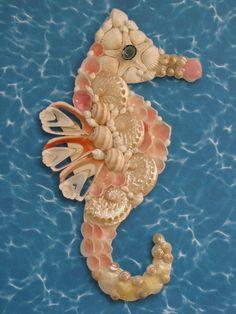 Seahorse Wall Decor  Seahorse Shell Art  by TheSleepySeahorse