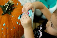 No Carve Pumpkin Decorating with Glow-In-the-Dark Paint 2021 - Entertain Your Toddler No Carve Pumpkin Decorating, Pumpkin Carving, Bubble Recipe, The Darkest, Bubbles, Glow, Arts And Crafts, Entertaining, Painting