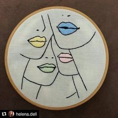 Lip color woman embroidery