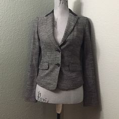 NWT Express blazer Gray blazer with faux leather collar.  50% polyester, 49% viscose, and 1% elastane. Express Jackets & Coats Blazers