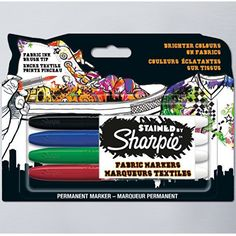 Sharpie Stained Fabric Marker Assorted Colours Set of 4 https://www.cassart.co.uk/craft/fabric_painting/product_type_fabric_paint/sharpie_stained_fabric_marker_assorted_colours_set_of.htm