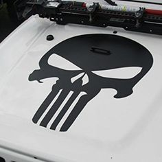 Matte Black Punisher Skull Jeep Wrangler Hood Decal
