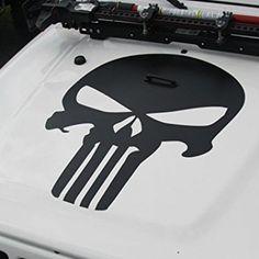 Matte Black Punisher Skull Jeep Wrangler Hood Decal