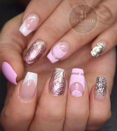 Metallic and dusted pink