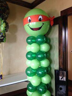 Balloon Ninja Column - New Deko Sites Turtle Birthday Parties, Ninja Turtle Birthday, Ninja Turtle Party, Ninja Turtles, Baby Ninja Turtle, 4th Birthday, Ninja Turtle Balloons, Ninja Party, Partys