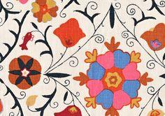 "Pattern: Safi Suzani Style No: M-6041 Color: Indigo Passion Content: 100% Linen Width: 54"" Repeat: 36"" Vertical 54"" Horizontal"
