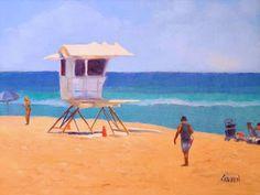 Seascape Artists International: Lifeguard Shack, 8x6 Oil on Canvas Seascape with Figures
