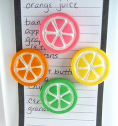 for the kitchen!Cute fridge magnets - set of 2, pick your flavors: Orange, Lemon, Lime, Pink Grapefruit slices, citrus fruit, refrigerator magnets. $12.00, via Etsy.
