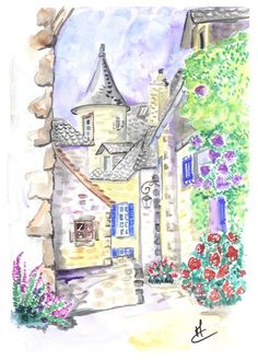 village auvergne aquarelle by Mae Maevina