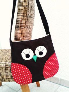"""Tasche  Handtasche  Shopper  Umhängetasche      """"Eule""""        super schöne Eulentasche in dunkelbraun mit Dots kombiniert ♥ tolles Design ♥ Innenfu..."""