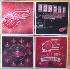 Detroit Red Wings Ceramic Coaster Set of Four  by HashtagCoasters