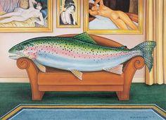 A Beauty #art-history #couch #curtian #divan #fish #fishing #japanese-prints #manet #modigliani #nude #reclining #trout #ukiyo-e #woman
