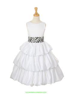 White Triple Layer Dull Satin Bubble Dress with Zebra sash