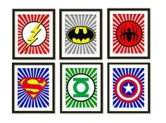 Super hero art, kids wall art, boys room decor, Spider-Man, superman, batman, flash, captain America, green lantern, sup