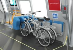"BART Fleet of the Future - Bike Racks   Because BART trains are constantly coupled and uncoupled between runs throughout the day it is not possible to keep a dedicated ""bike car"" in a predictable position on each train.  So instead, the current design incorporates bike racks in every car.  The rack will be designed to stabilize bikes as the train moves."