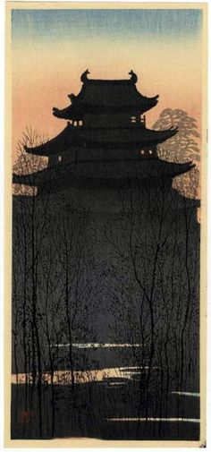 "Konen, Uehara (1878-1940), ""Osaka Castle at Sunset"""