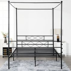 Metal Canopy Bed, Metal Beds, Storage Boxes, Storage Spaces, Adjustable Beds, Bed Sizes, Bed Frame, Simple Designs, Mattress