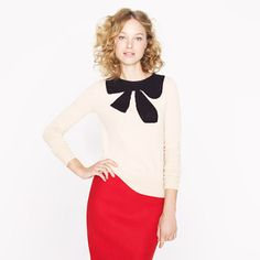 Giant Bow Sweater + Red Skirt for the holidays!