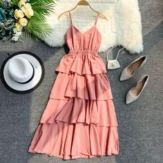 Spring style sling V collar sleeveless layer cake dres – Our Latest Style – styling Elegant Dresses For Women, Pretty Dresses, Sexy Dresses, Casual Dresses, Casual Outfits, Fashion Dresses, Cute Outfits, Beautiful Dresses, Outfits For Teens