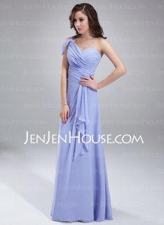 Bridesmaid Dresses - $126.99 - A-Line/Princess One-Shoulder Floor-Length Chiffon Bridesmaid Dress With Ruffle (007018787) http://jenjenhouse.com/A-Line-Princess-One-Shoulder-Floor-Length-Chiffon-Bridesmaid-Dress-With-Ruffle-007018787-g18787