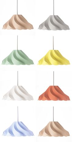 This lampshade was inspired by the delicious meringue cookies. The lamp is made of pastel color plastic sheet, folded to become a beautiful lampshade lighting