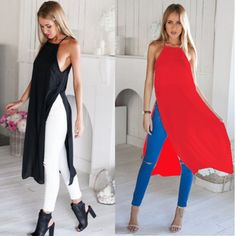 Two Side Split Shirt High Slit Maxi Long Dress Fashion Casual Sleeveless Summer Beach T Tee Tshirt Sexy Chiffon Sundresses(China (Mainland)) Long Dress Fashion, Kimono Fashion, Fashion Dresses, Trendy Dresses, Sexy Dresses, Mode Jeans, Maxi Robes, Chiffon Tops, Chiffon Dress