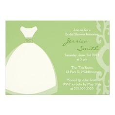 Cute  elegant gown green bridal shower invitation