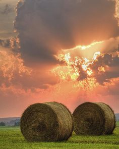 """I LOVE seeing the big round bales of hay in a meadow...almost saying """"Job Well Done""""."""