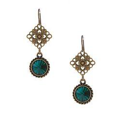 @Overstock - Beautiful emerald green Swarovski Crystal enhance the rustic look of these floral filigree brass earrings. These elegant earrings hang from hook findings.http://www.overstock.com/Main-Street-Revolution/MS-DJ-Casanova-Brass-Green-Crystal-Earrings/6328562/product.html?CID=214117 $20.99