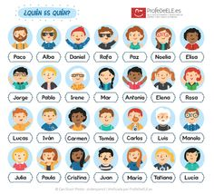 Fichas para jugar al quién es quién - Un clásico en la enseñanza de idiomas: http://bit.ly/quienquien | Más materiales en www.ProfeDeELE.es