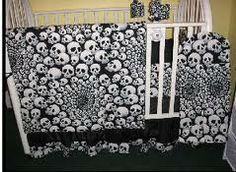 Who Wants To Have A Baby For Me Black And White Skulls Gothic Crib Bedding Set Punk Goth Nursery Theme