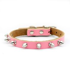 cat Leso Medium Puppy Dog cat Doggie Cats One Row Spiked Leather Collars Necklaces -Medium-Pink * Review more details here : Cat Collar, Harness and Leash