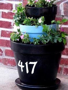 chalkboard painted flower pots